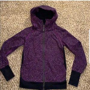 Lululemon scuba zip up front purple static hoodie